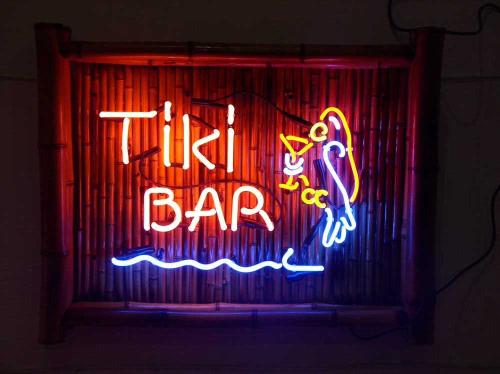 Bamboo Tiki Bar Neon Signs with Parrots and Palm Trees - 1
